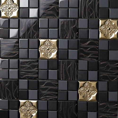 Glass Mix Metal Mosaic Tile Patterns Metallic Bathroom Wall Tiles