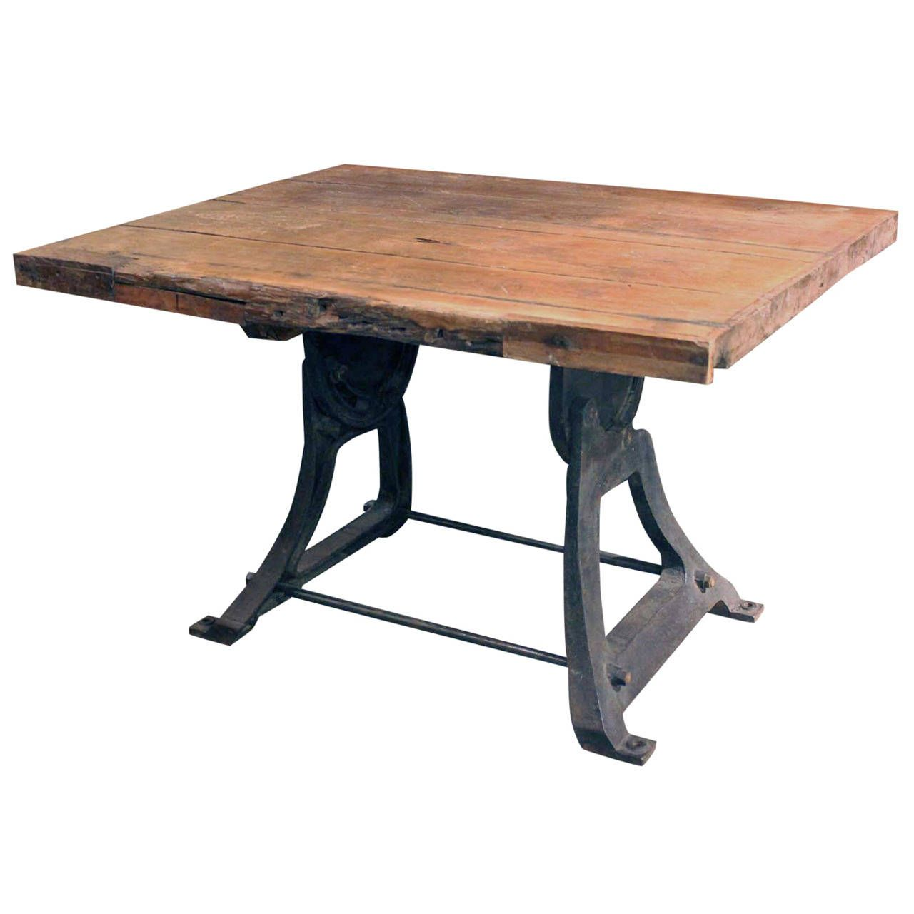 French Industrial Center Table | From a unique collection of antique and modern center tables at https://www.1stdibs.com/furniture/tables/center-tables/