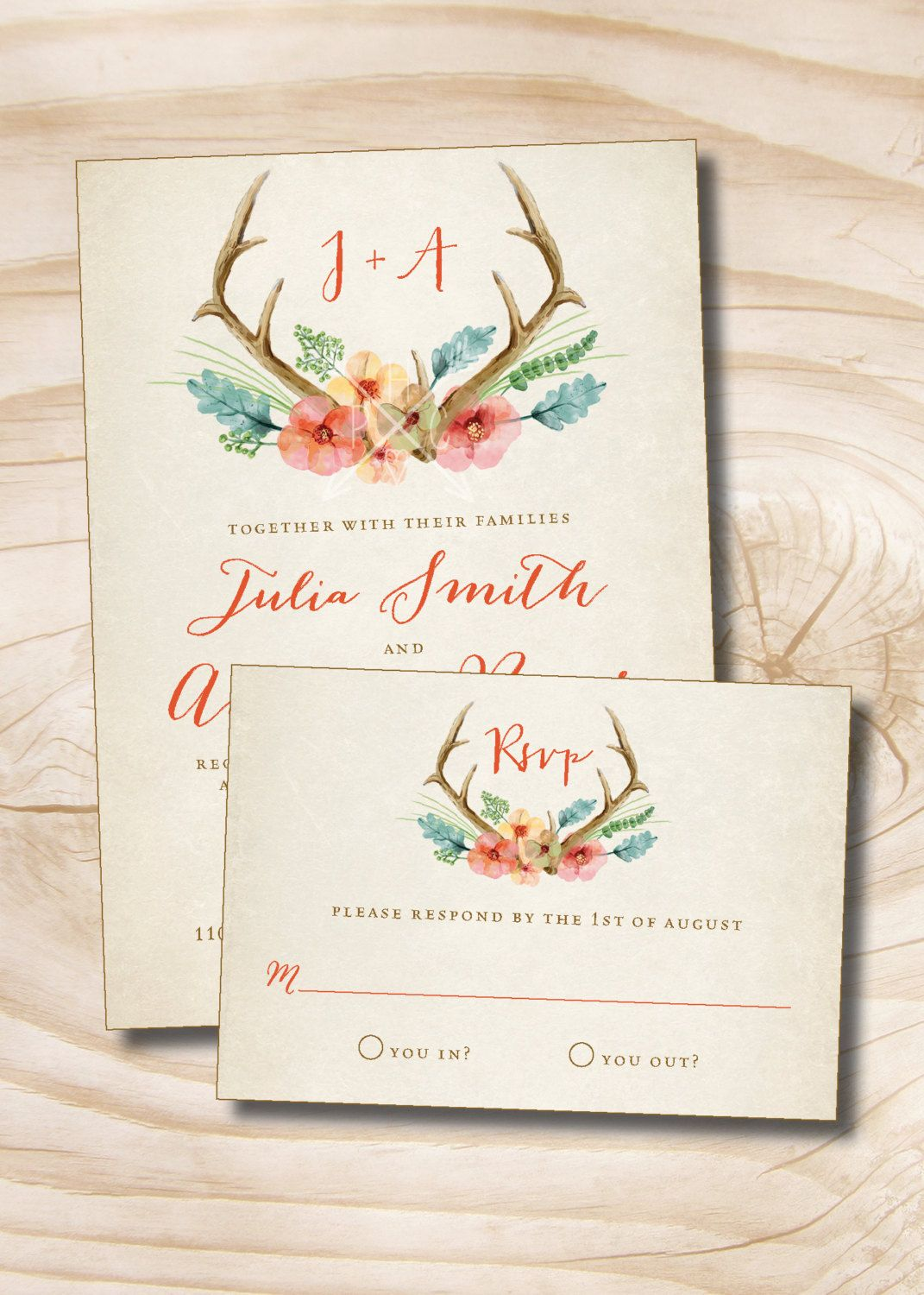 Rustic Floral Antlers Wedding Invitation and Response Card - 100 ...