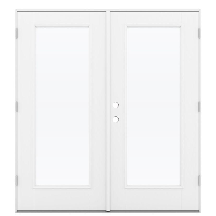 Jeld Wen Tempered Clear Glass Primed Fiberglass Left Hand Outswing French Patio Door Common 72 In X 80 In Actual 71 5 In X 78 6875 In Lowes Com Patio Doors French Doors Patio Jeld Wen