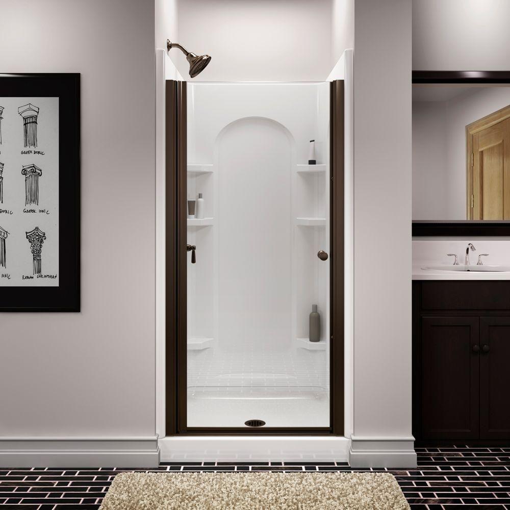 semi frameless single shower doors 2. STERLING Finesse 34 In. X 65-1/2 Semi-Frameless Pivot Shower Door In Deep Bronze With Handle-6305-34DR-G05 - The Home Depot Semi Frameless Single Doors 2