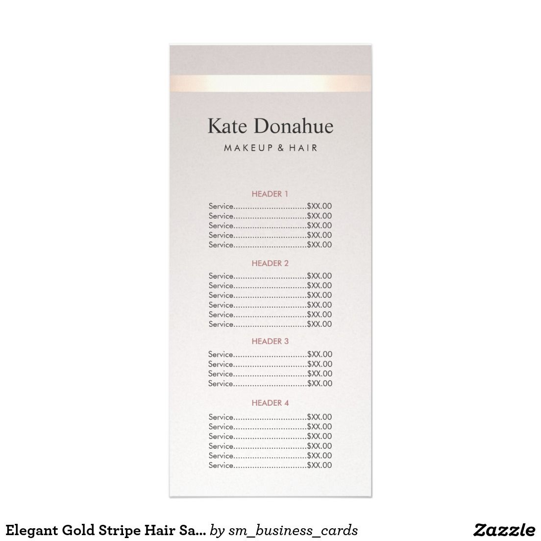 Beauty Salon Prices Elegant Gold Stripe Hair Salon Price List Menu Zazzle