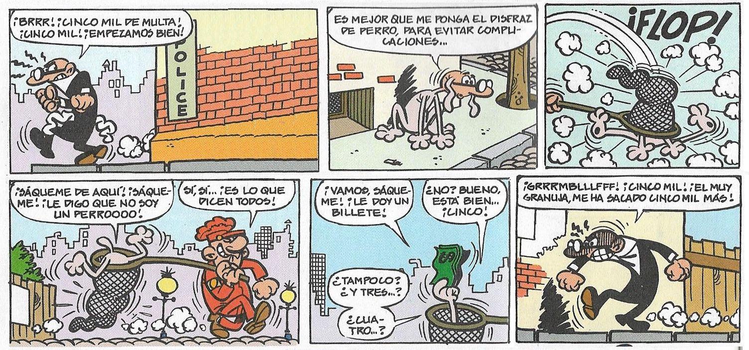 """Francisco Ibáñez: Viñetas de la historieta """"Mortadelo y sus disfraces"""" aparecida originalmente el 22 de Septiembre de 1969 y recopilada en el Super-Humor nº 23 (Ediciones B, 1ª edición 1995 - 6ª 2004."""