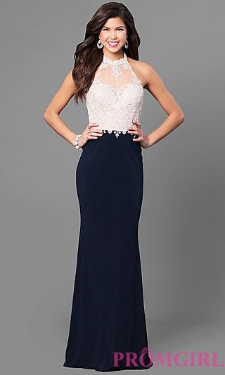 f3bb95653c7a Long High-Neck Halter Prom Dress with Lace Bodice in 2019 | Formal ...