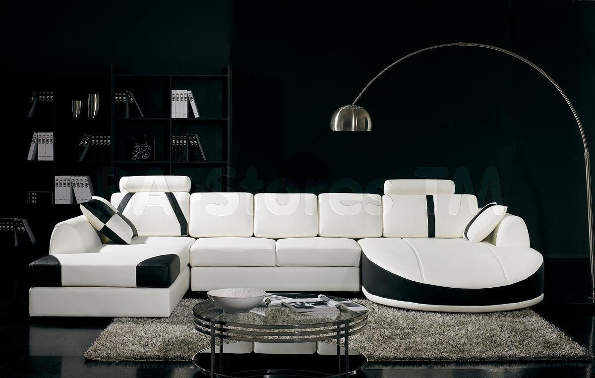 Ultra Modern White Sectional Sofa With Black Trim   VIG Furniture