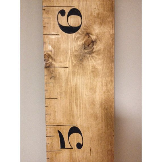 rustic brown kids measuring ruler stick growth chart wood board wall ...