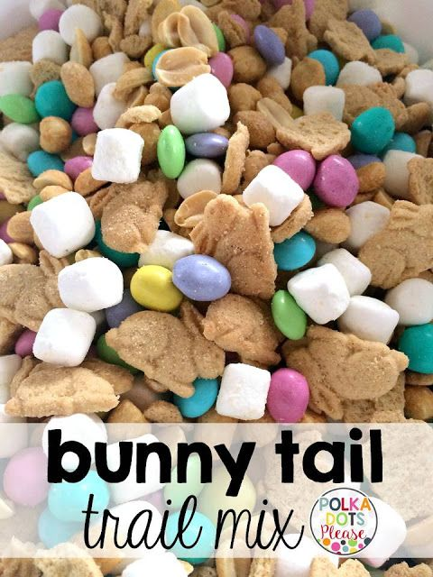 Simple recipe for bunny tail trail mix makes a great teacher gift this recipe for bunny tail trail mix is sweet salty delicious and adorable you can also get free easter gift tags from polka dots please negle Gallery