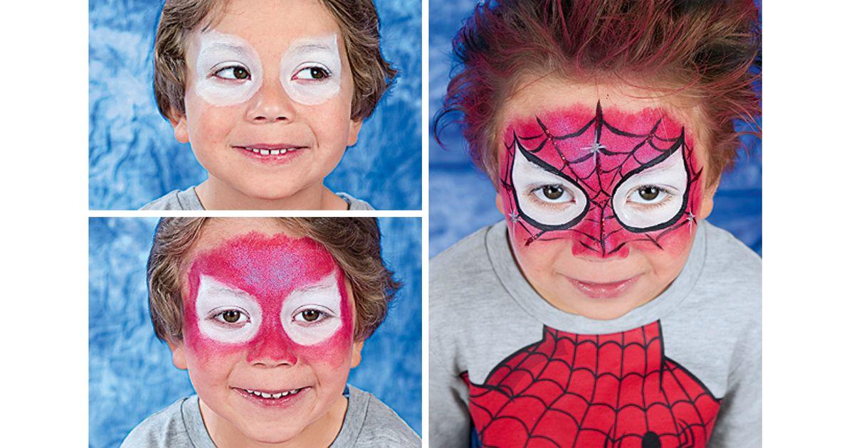 spiderman schminken in 3 einfachen schritten zum comic. Black Bedroom Furniture Sets. Home Design Ideas
