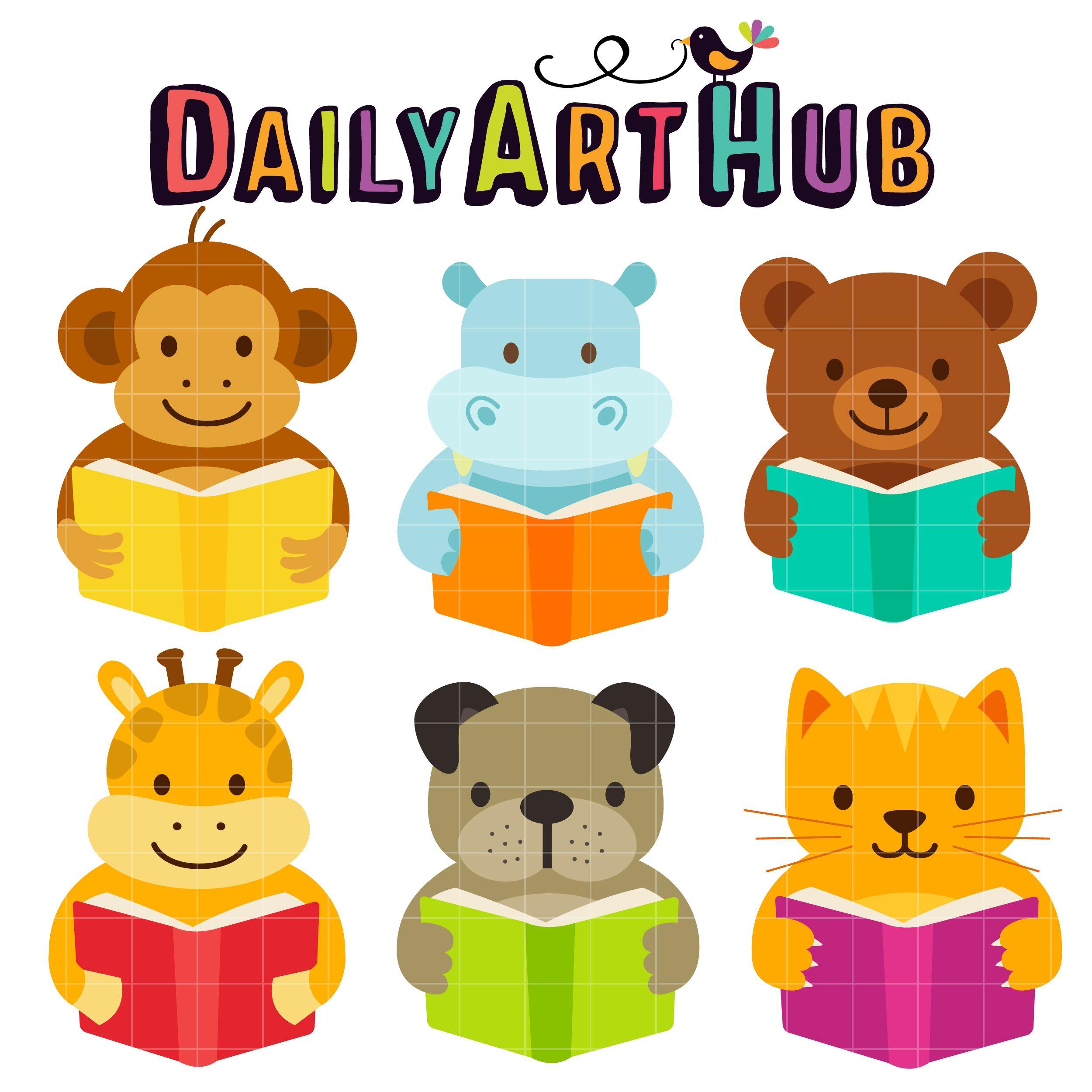 Cute Reading Animals Clip Art Set Daily Art Hub Free Clip Art Everyday Clip Art Art Hub Digital Clip Art
