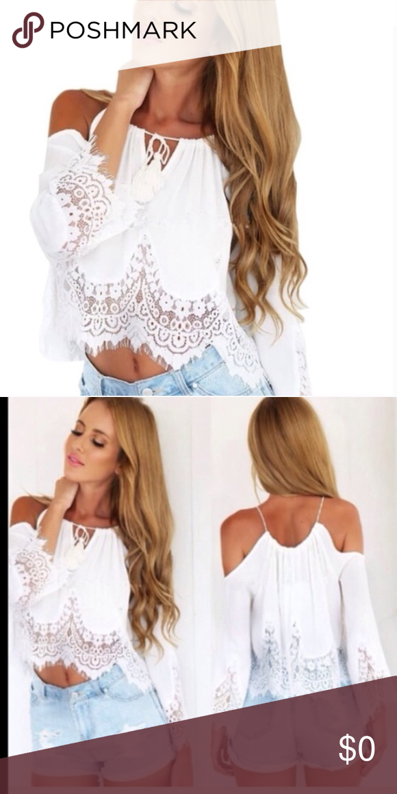 f15a49ede0e29a White lace cold shoulder top Delicate lace with tassel tie detail in the  front. Straps