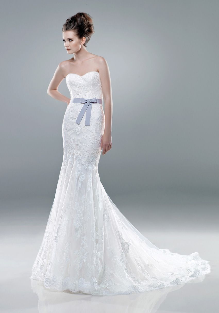 Lace dress gray  Sweetheart neckline Blue Sash Lace Wedding Dress front  All