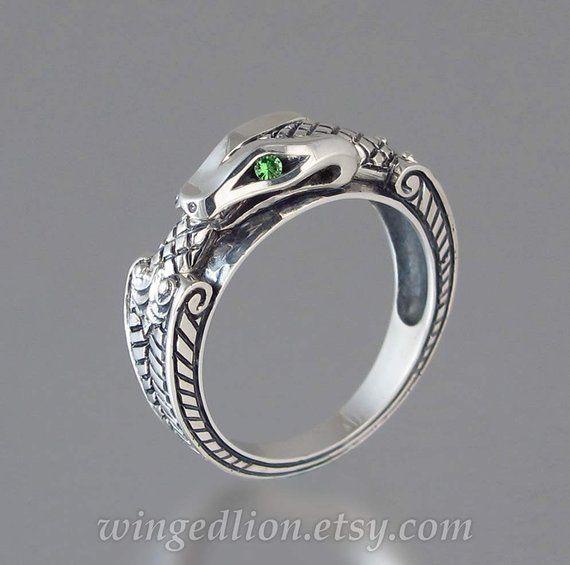 985ad8726 OUROBOROS silver mens Snake ring with Tsavorite green garnet eyes in ...