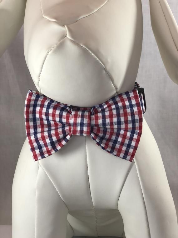 Red, White and Navy Blue Plaid Bow Ties & Collars for Dogs, Free ship in USA. #pictureplacemeant