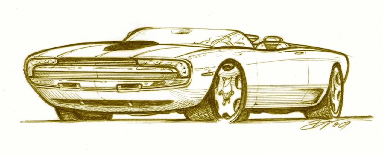 A Rough Pencil Sketch Of A Redesigned Muscle Car Vierstradesign