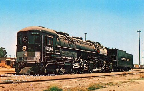 """One of the Southern Pacific's famous """"Cab Forwards,"""" Class AC-12 4-8-8-2 #4294. This is the only surviving example of these unique locomotives; it now sits on display at the California State Railroad Museum in Sacramento. Postcard from the Richard Anderson Collection"""