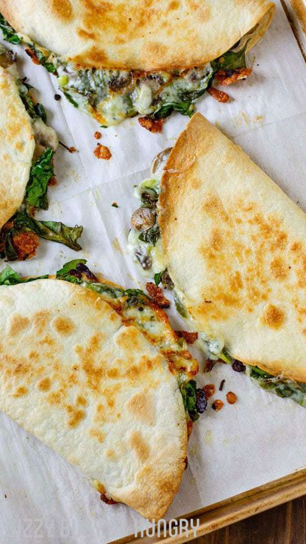 Baked Spinach Mushroom Quesadillas #pescatarianrecipes