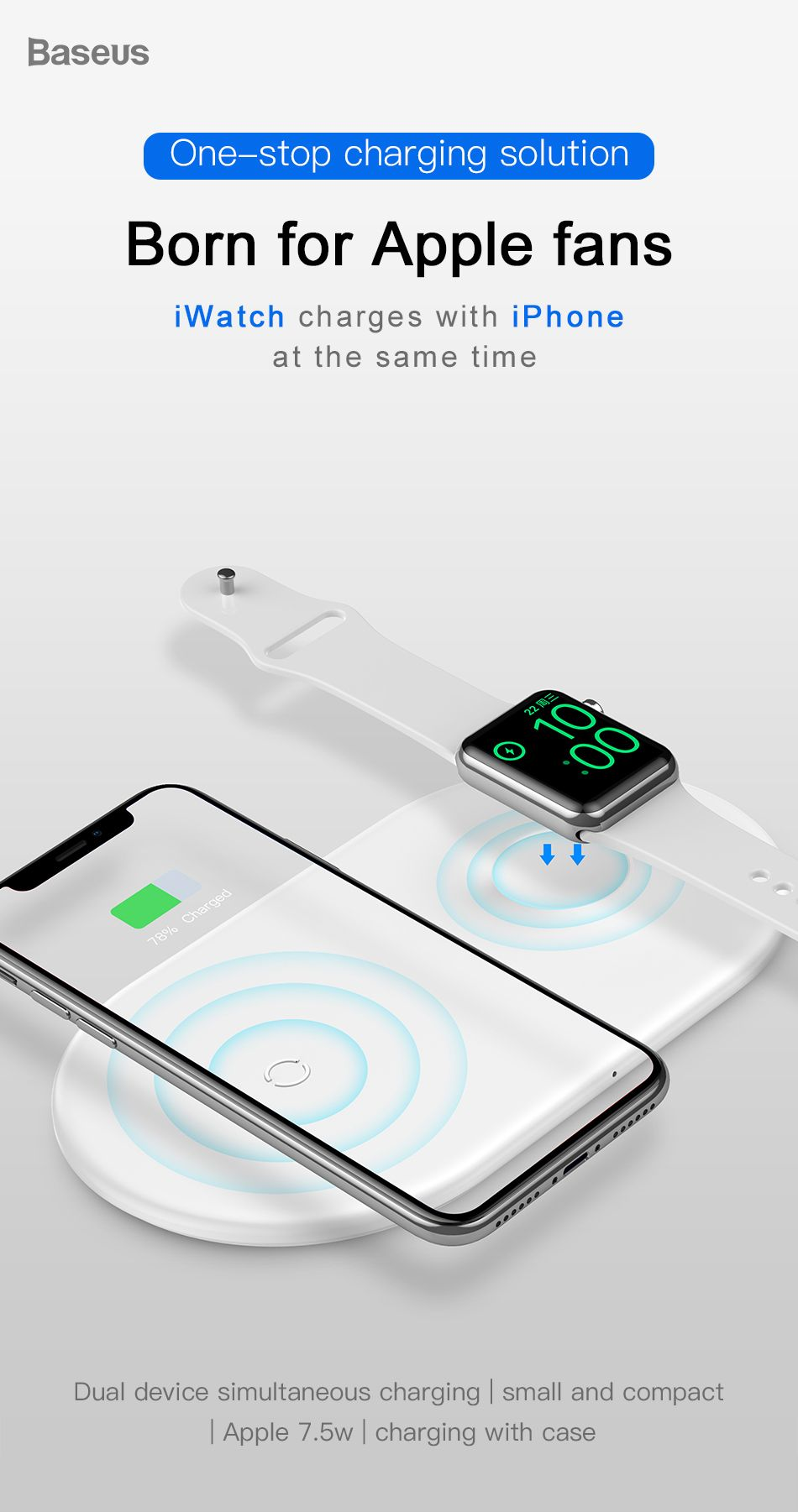 Baseus dual coins wireless charger pillow for