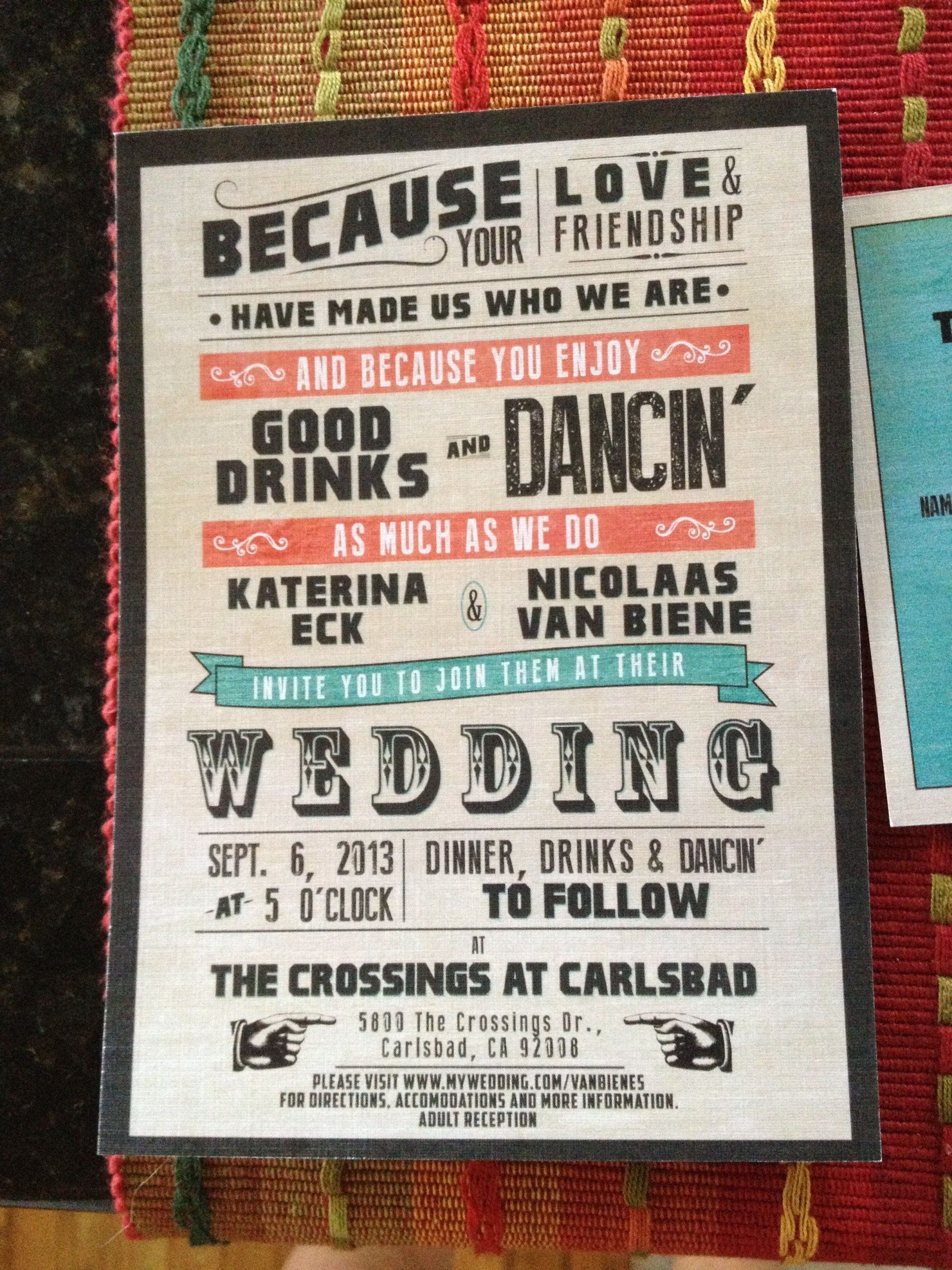 Non Traditional Wedding Invitations My Fun Nontraditional