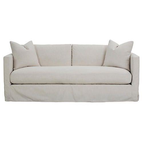 Shaw Slipcover Bench Seat Sofa Ivory Crypton Versatile Sofa