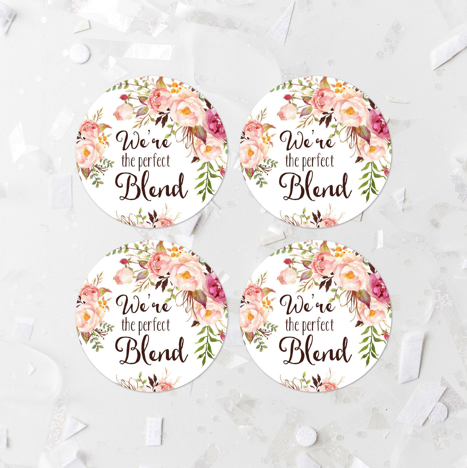 Were The Perfect Blend Coffee Favor Labels Printable Bohemian Wedding Tags Pink Floral Cupcake Rounds Stickers 265