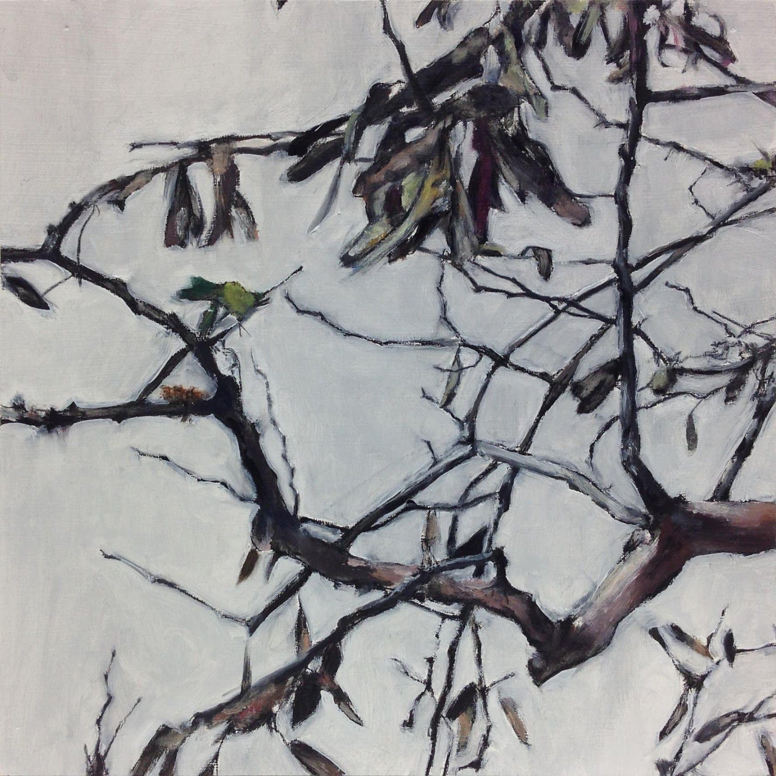 hermelando b m: Other stunted tree branches. Oil on board. 25 x 25 cm