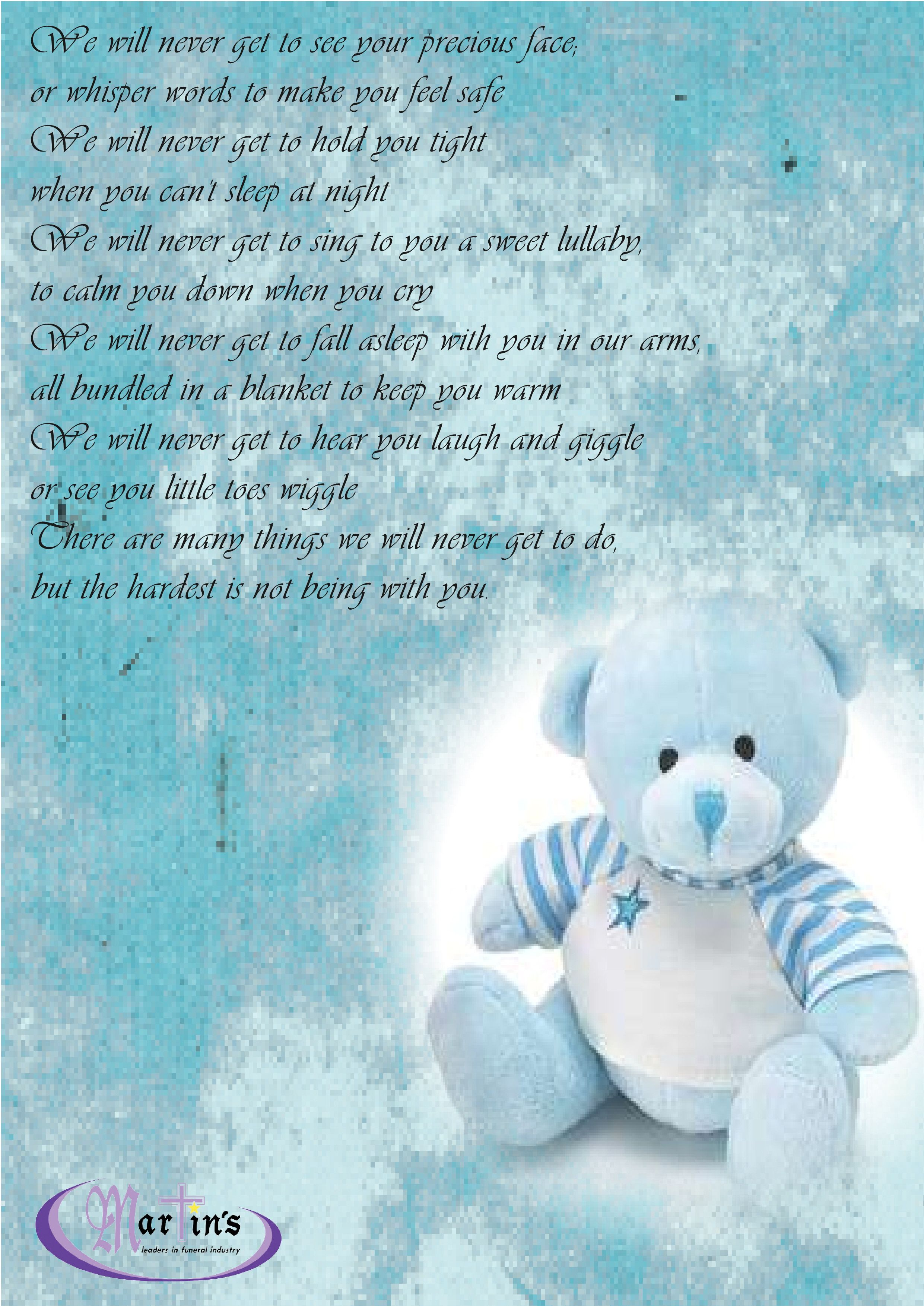 Sympathy poem for a little boy martins funerals poems funeral poem card for a litle stillborn baby boy martins funerals amanzimtoti kristyandbryce Images