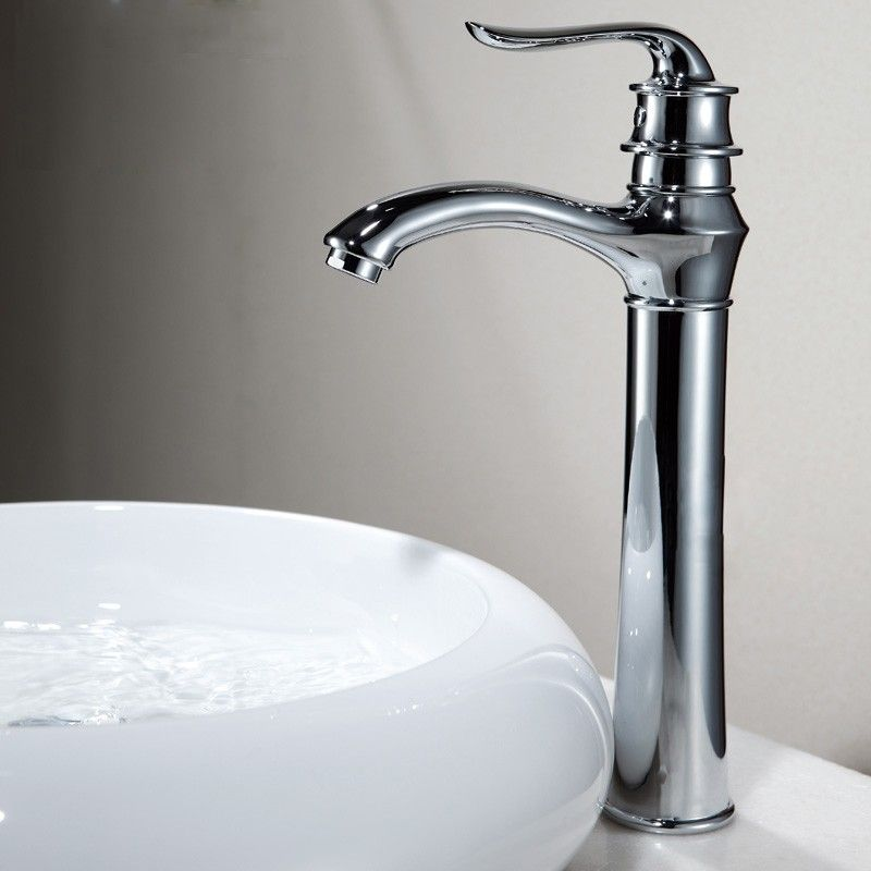Interesting Modern Simple Single Lever Tall Bathroom Basin Mixer Tap In Chrome Finished With Gold Taps