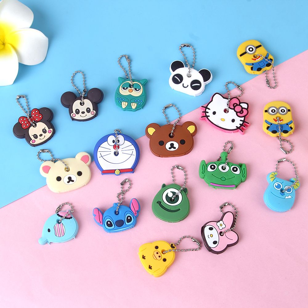 026c0af39ee2 Anime Silicone Cat Key Cap Minion Key Chain Women Bag Charm Key Holder  Stitch Key Ring Owl Keychain Mickey Hello Kitty Key Cover   Price   0.78    FREE ...