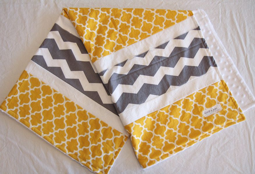 Yellow and Gray baby blanket. Unisex by KendraJeanDesigns on Etsy, $58.00