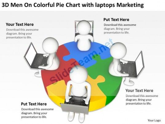 3D Men on Colorful Pie Chart with Laptops Marketing Ppt Graphics Icons #Powerpoint #Templates #Infographics
