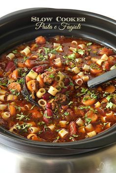 Slow Cooker Pasta e Fagioli - a super delicious, classic Italian soup. Takes about 45 minutes to prep, the slow cooker does the magic! Walk in the door, after a long day and the most amazing fragrance will greet you! Dinner will soon be served!