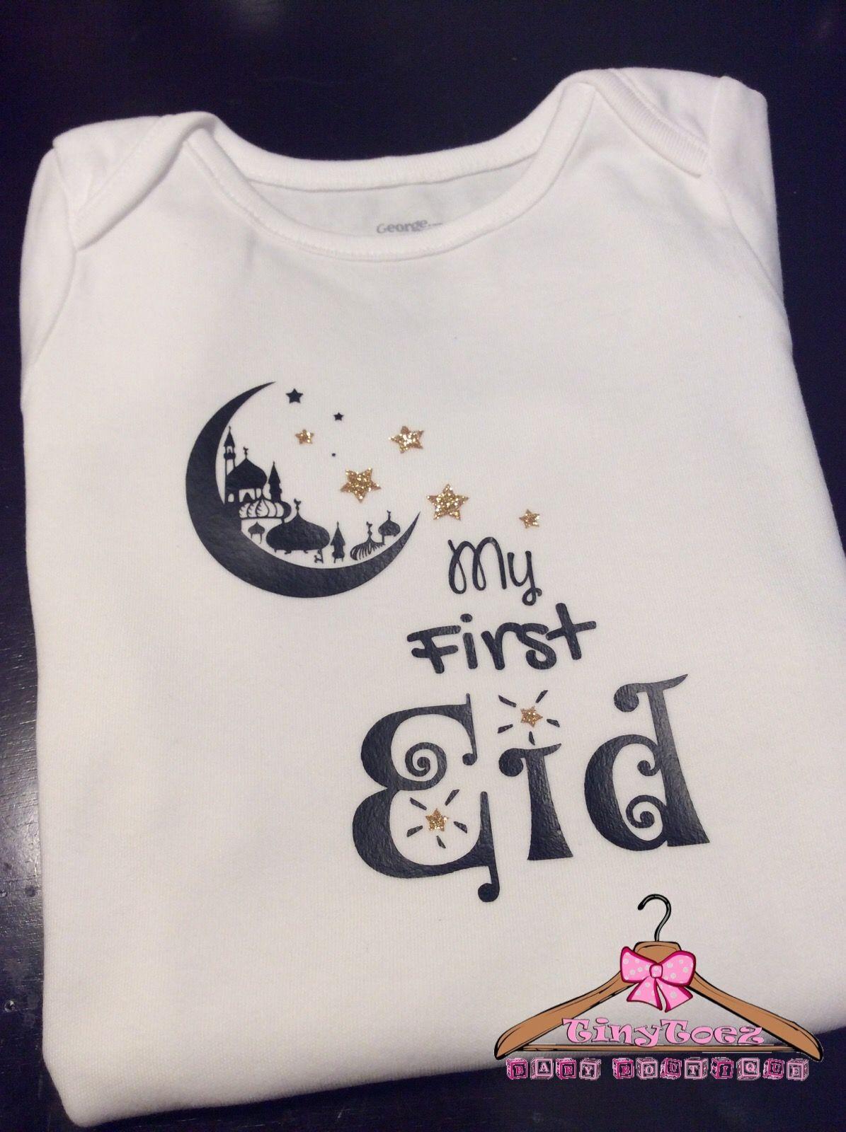 628106819 My first eid/ eid Mubarak/ baby eid Onesie | Baby clothes | Eid, Eid ...