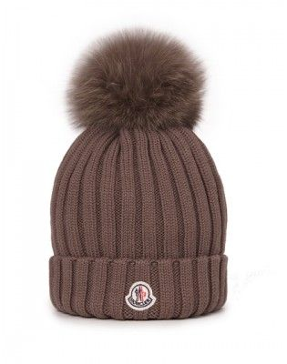 Moncler Ladies Fox Fur Bobble Hat Brown  98e8b64bc98