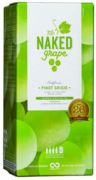 """""""The Naked Grape Pinot Grigio is light bodied with aromas of pear and Meyer lemon with a crisp, fresh, light and tangy style. The fridge-friendly box can accompany you in outdoor spaces where glass may not be as friendly an option. The Naked Grape is the only wine brand that offers a box wine that is fully recyclable from bag to box across the country."""" – Winemaker's notes"""