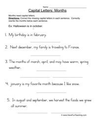 capital letters months worksheet 1 worksheets letter worksheets and punctuation. Black Bedroom Furniture Sets. Home Design Ideas