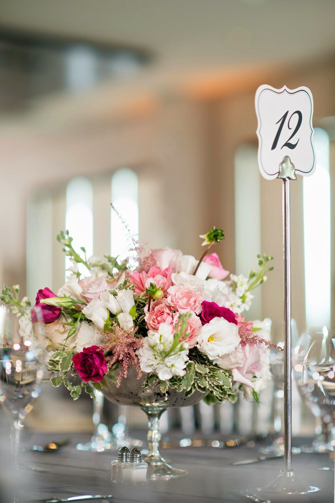 Studio Dbi Pink And White Flower Centerpiece In Mercury Glass