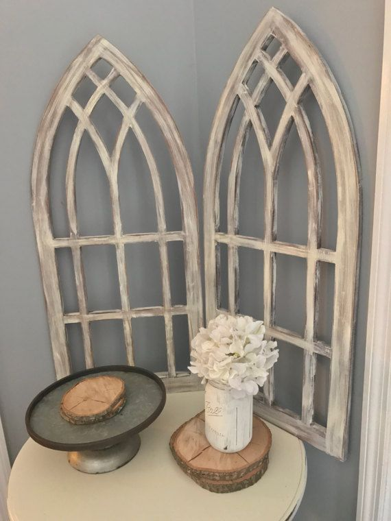 Distressed Arched Frames Set Of Two Shutter Wall Decor