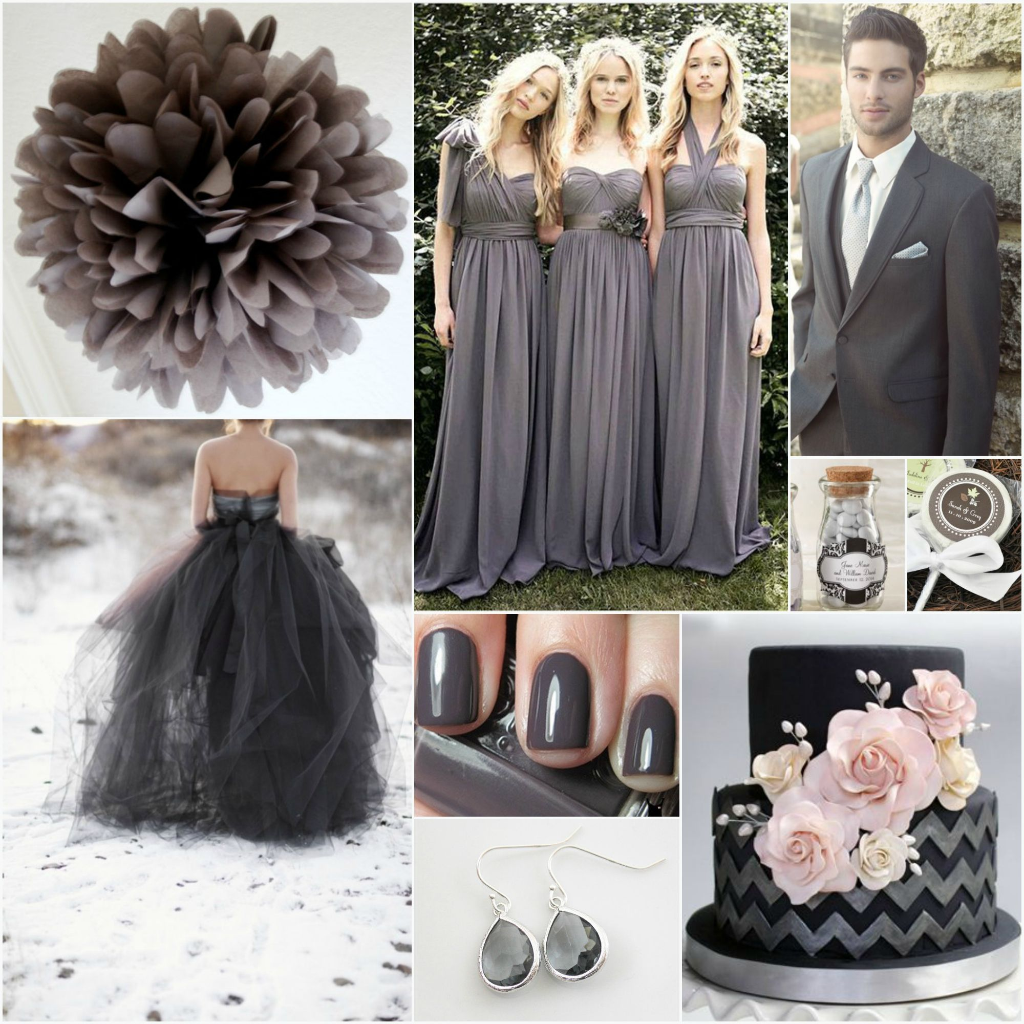 Charcoal wedding esp like the colour of the bridesmaids dresses