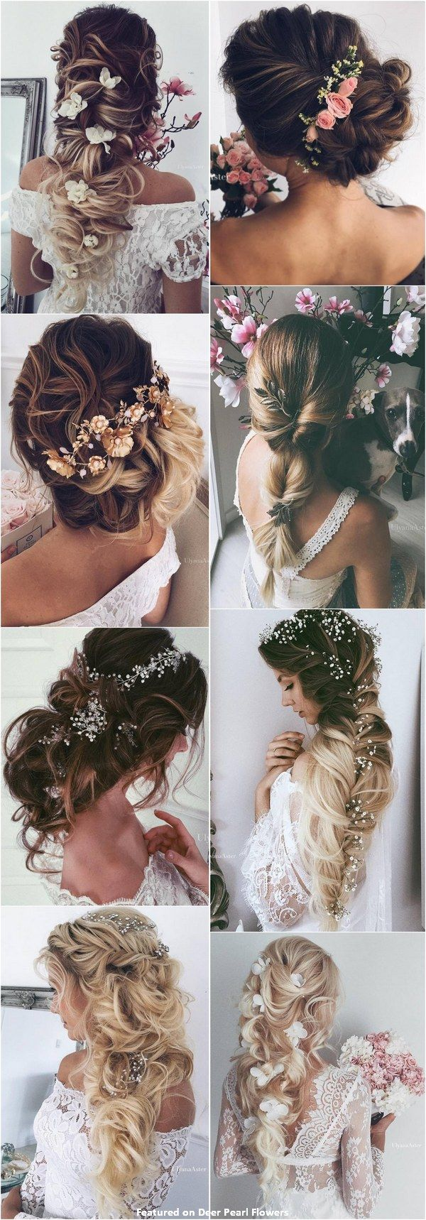 new romantic long bridal wedding hairstyles to try aster