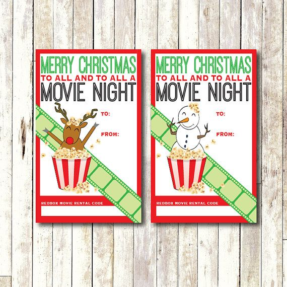 Redbox Gift Card Tag Printable Instant Download Movie Night Gift