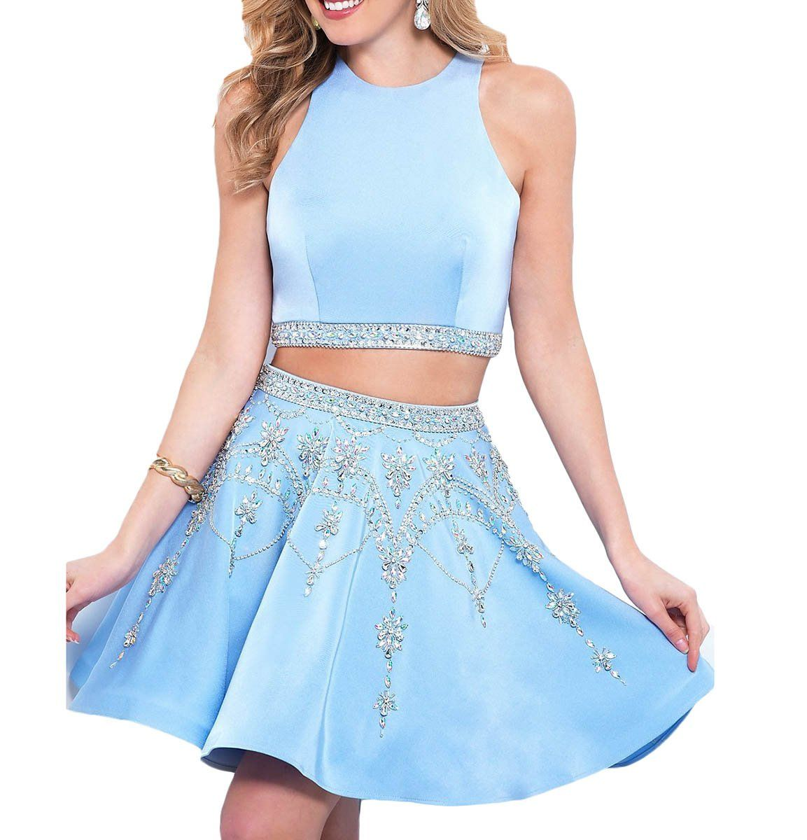 Udresses short two pieces sky blue luxury beaded homecoming prom