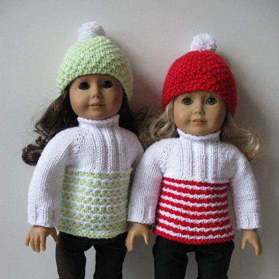 Zzgl. Farbe Pullover & Hut Ski-Outfit weiße Puppe 18 von KNITnPLAY ...