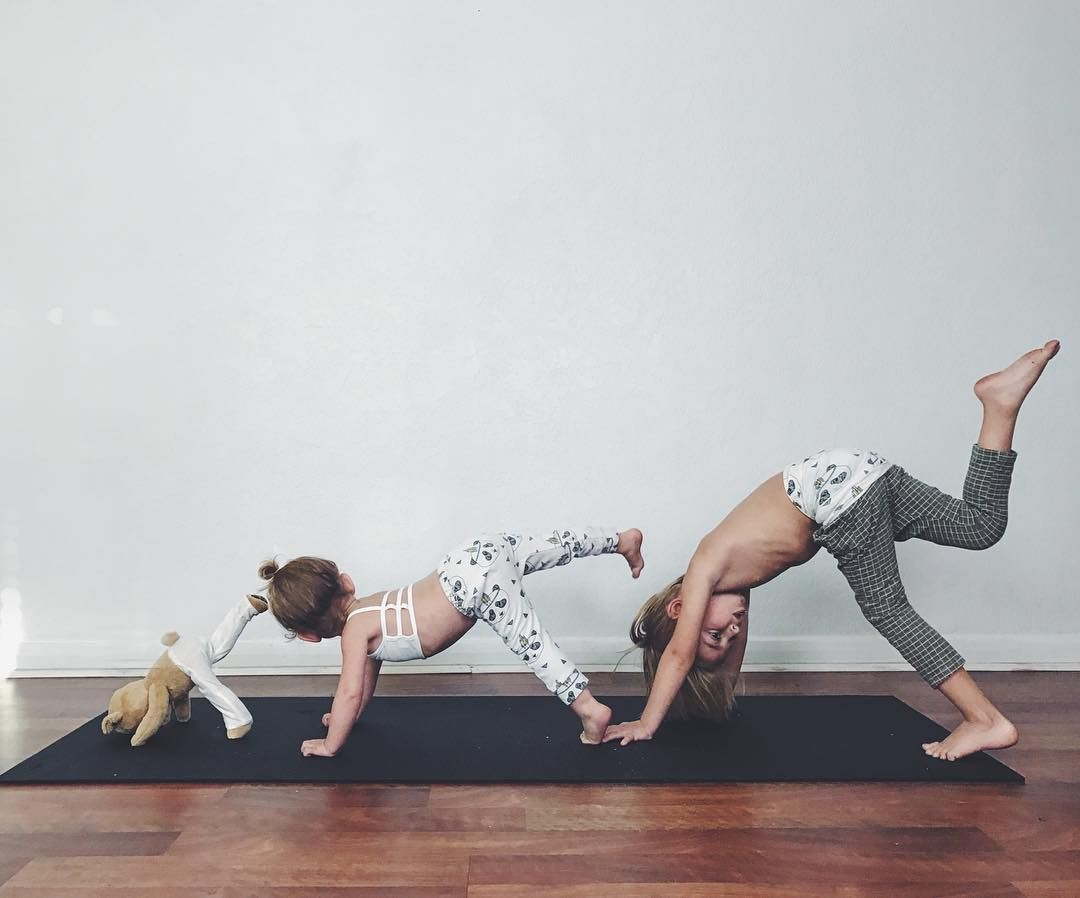 Mom and Kids Doing Yoga Together   POPSUGAR Moms   Yoga