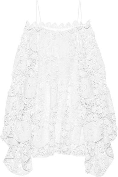 Chloé - Off-the-shoulder Crocheted Cotton Mini Dress - White