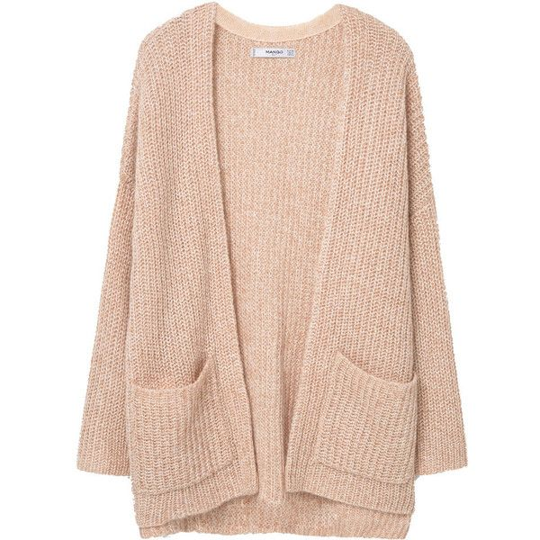 Chunky Knit Cardigan (170 DKK) ❤ liked on Polyvore featuring tops, cardigans, jackets, outerwear, sweaters, pink top, thick cable knit cardigan, mango tops, cable cardigan and pink cardigan