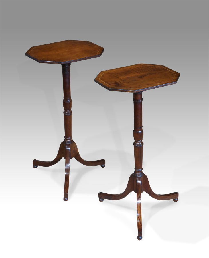 Beau Pair Of Antique Lamp Tables. £2950. 19th Century Regency Period Small Side  Tables, With Octagonal Tops On Turned Columns. #pair #tables  #interiordesign ...