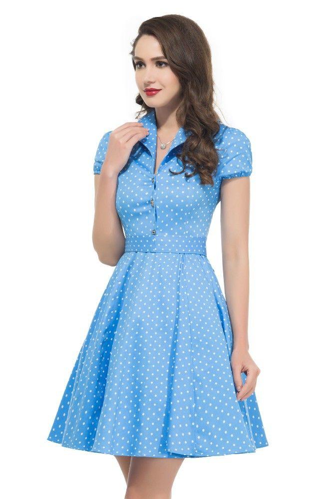 c866b492d0f9 blue and white polka mini dress