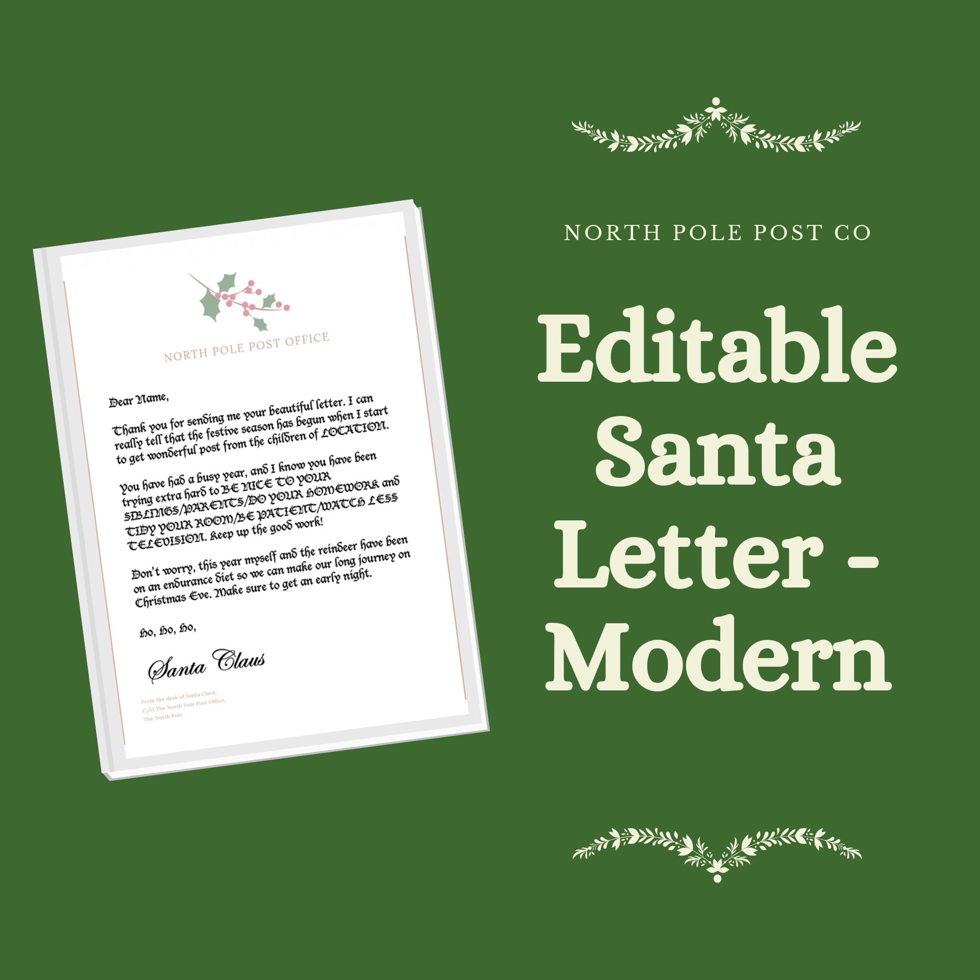 Letter from Santa Modern //Printable & Customizable// Word