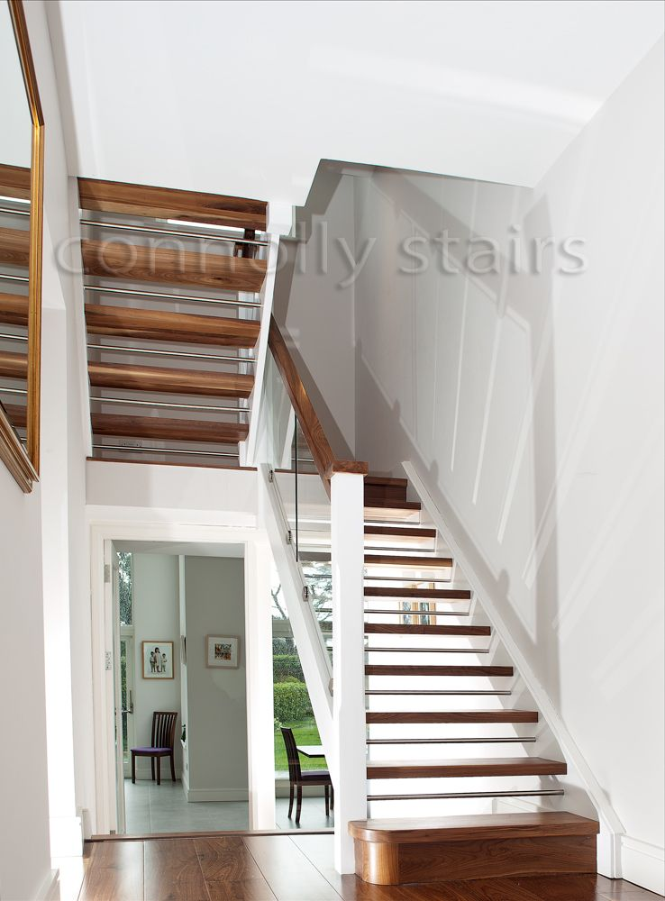 Best Walnut And White Stairs With Glass With Images White 400 x 300