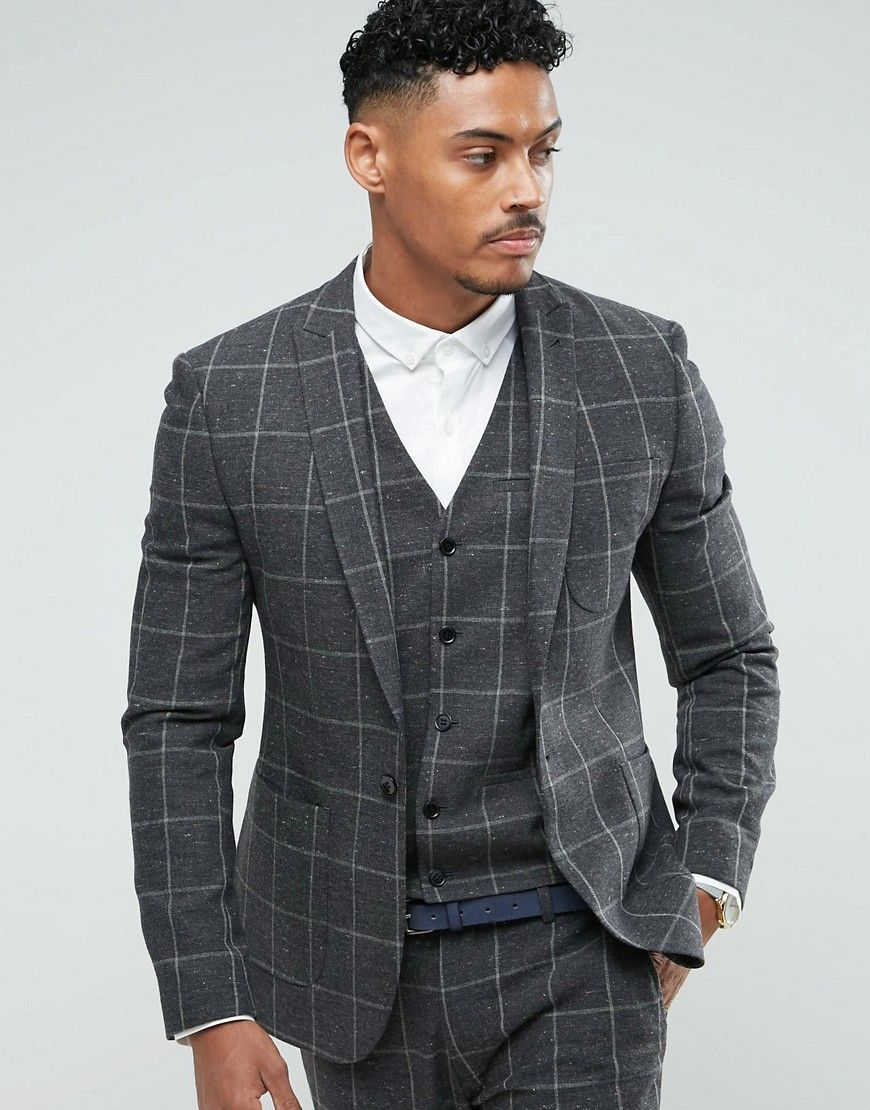 4619548c926350 Super Skinny Suit Jacket In Charcoal Windowpane Check in 2019 | OS ...